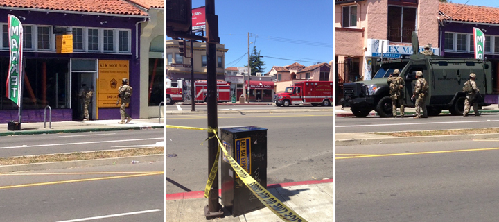 Berkeley police looked for an armed robber on Sacramento Street on Monday at about 12:35 p.m. Photos: Linda Tunner