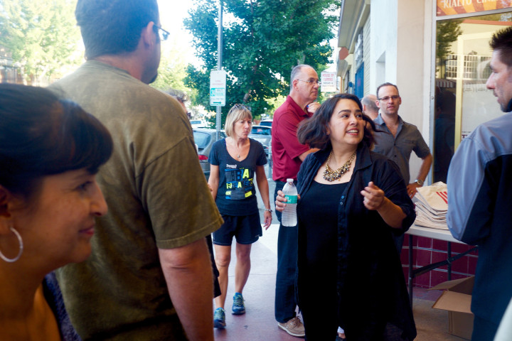 Siciliana Trevino (center) greets supporters at the Elmwood Theater on Aug. 27. Photo: Ted Friedman