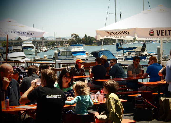 Brotzeit Lokal's patio overlooks the Oakland marina. Photo: Brotzeit Lokal