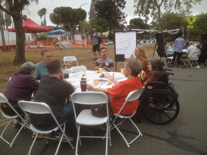 Attendees split off into small groups to outline their hopes for the project. Photo: Natalie Orenstein