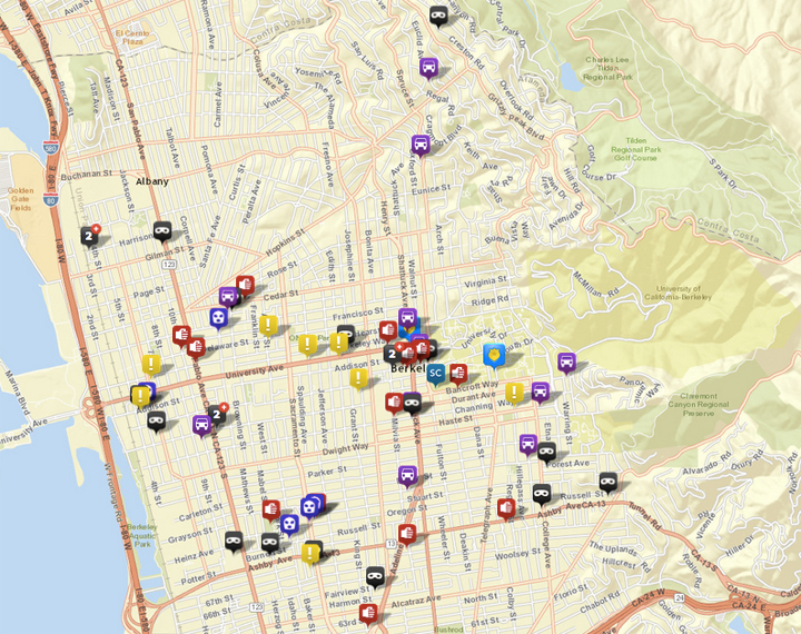 Selected calls to the Berkeley Police, via CrimeMapping.com. Scroll down for detailed maps. Click the map above for the list. See the map key here.