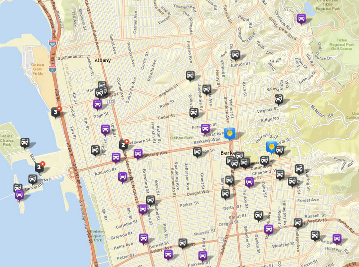There were 35 thefts or burglaries from vehicles, via CrimeMapping. There were 50 the prior week. There were also 17 vehicles stolen (in purple). Click the map for a list of incidents.
