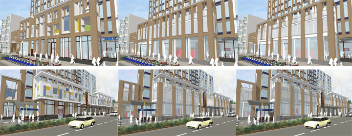 Three possible views of the Shattuck streetwall (top) and the Center streetwall (bottom). Image: JRDV Urban International
