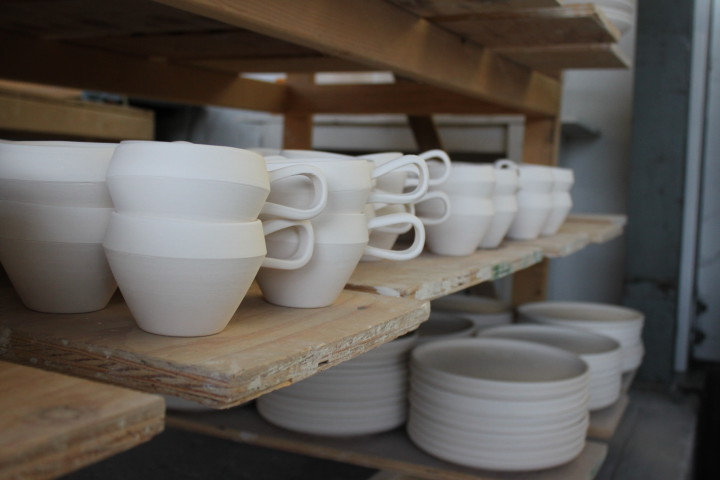 Mugs from Jered's Pottery. Photo: Kathleen Costanza