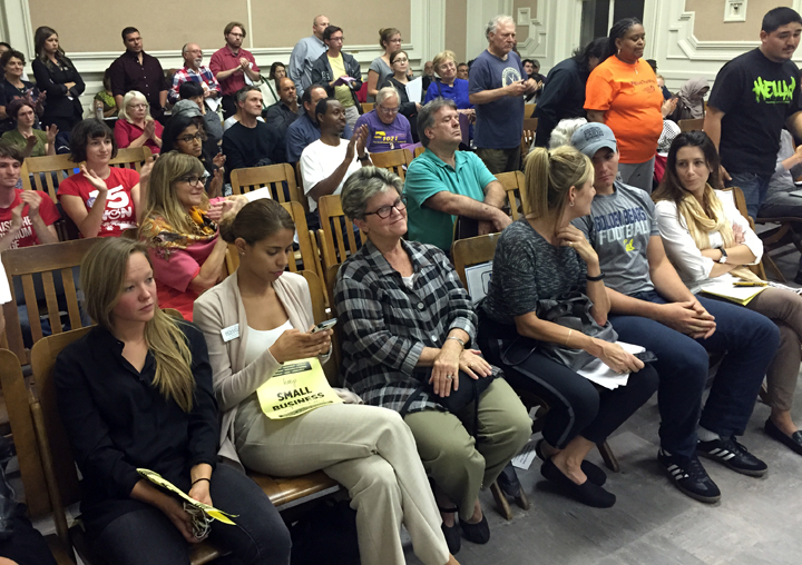Community members stayed late to weigh in on a proposal to increase Berkeley's minimum wage. Photo: Emilie Raguso