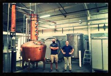 Daniel Wright (left) and Earl Brown (left) of Wright & Brown Distilling. Photo: Wright & Brown