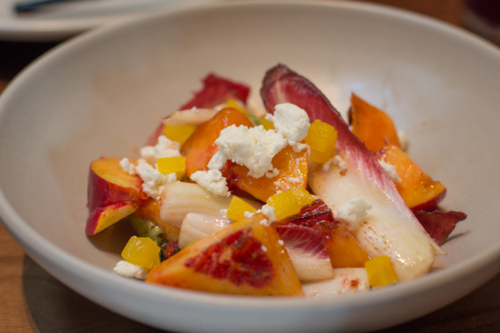 Nectarines with pickled beets, chevre, almonds and endive ($11) at The Advocate. Photo: Benjamin Seto