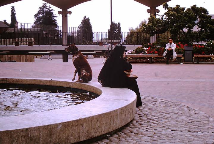 Ludwig and nun on a slow day at at the fountain. Photo courtesy of Tom Stetler