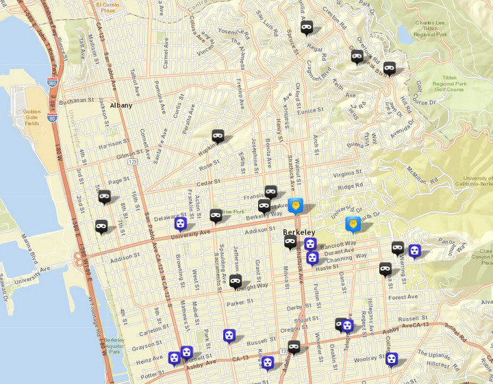 There were 15 burglaries (shown in black) reported over this period, via CrimeMapping.com. The prior week there were 20. There were also 10 robberies (in blue), following three the prior week. Click the map for a list.