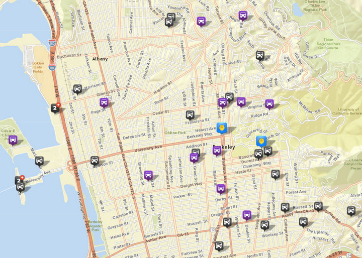 There were 24 thefts or burglaries from vehicles, via CrimeMapping. There were 25 the prior week. There were also 12 vehicles stolen (in purple). Click the map for a list of incidents.