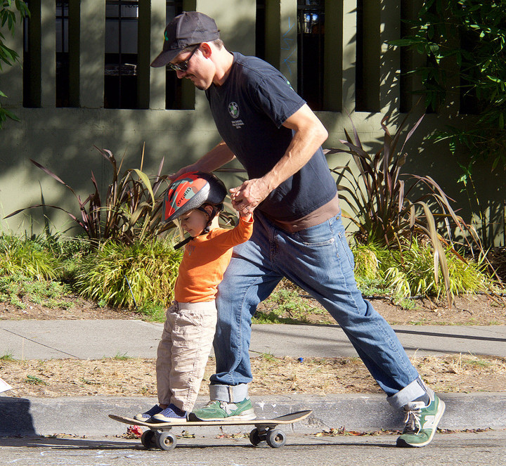 Skateboarding: More fun with two, at Sunday Streets. Photo: Nancy Rubin