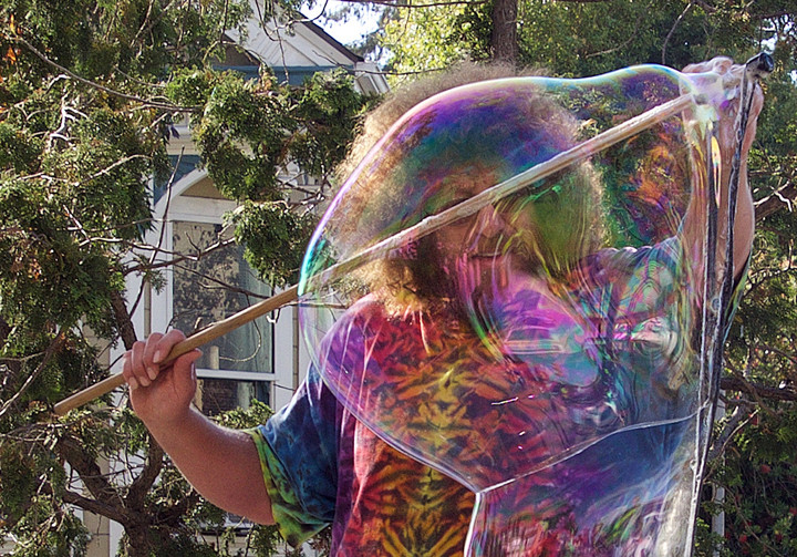 The bubble man at Sunday Streets. Photo: Nancy Rubin