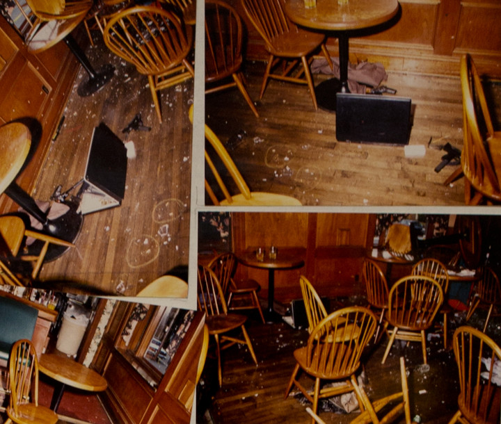 Police photographs show the chaos inside Henry's, and the briefcase (upper right) Dashti brought inside. Photo: BPD