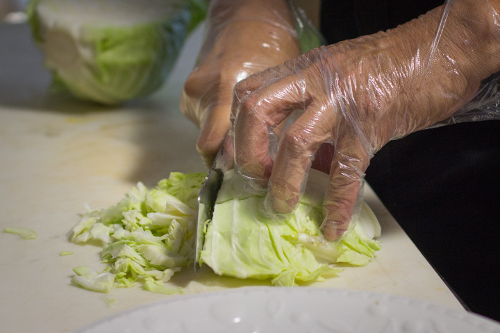 Grocery Cafe's salad starts with a base of shredded green cabbage. Photo: Benjamin Seto