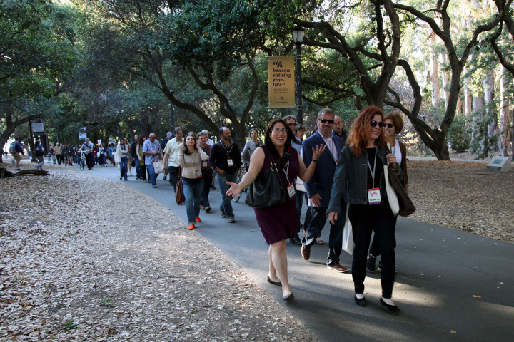 Festivalgoers walk through the UC Berkeley campus towards the Uncharted 2015 party at Alumni House, led by Elsa Tranter and Colleen Neff of the Berkeley Path Wanderers. Photo: Kelly Sullivan