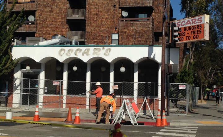 Construction has begun on the sidewalk in front of Oscar's; Sweetgreen plans to add outdoor seating. Photo: Kate Williams