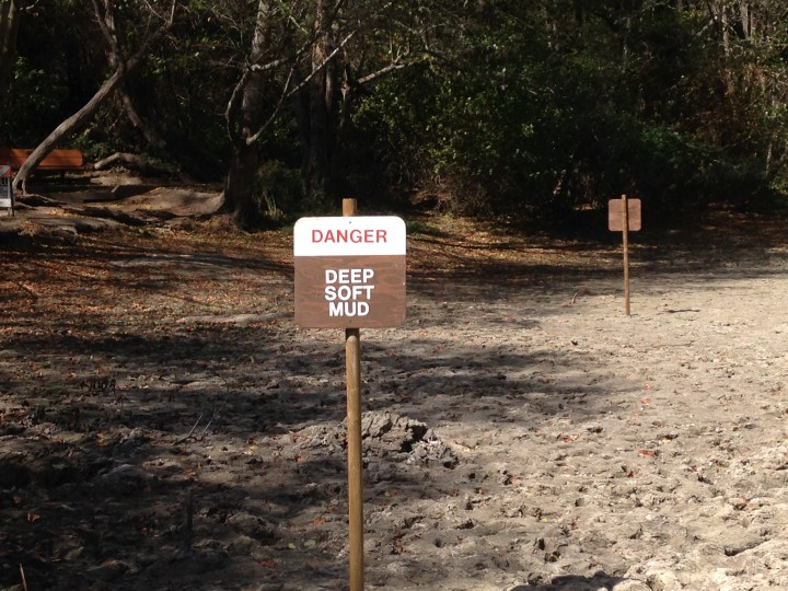 The uncovered shoreline of Jewel Lake in Tilden Park was a dangerous mud this summer, catching several hikers. One parks employee said wild animals seeking water have gotten trapped and died in mud at lakes in the district. Photo: Mary Flaherty