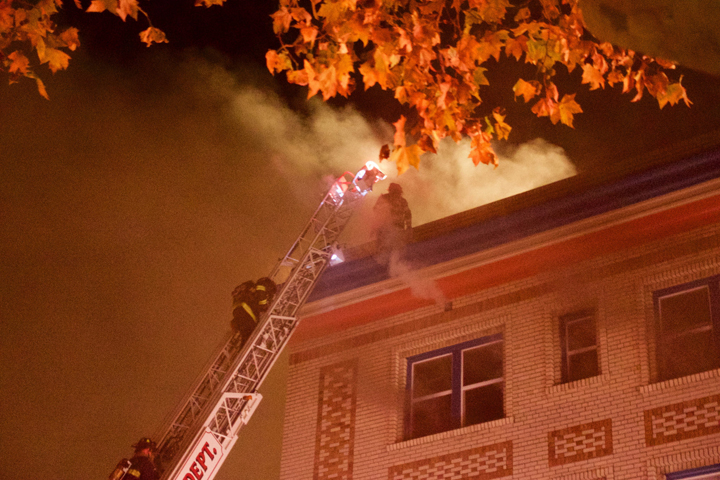 The Chandler building fire in Southside Berkeley. Photo: Ted Friedman