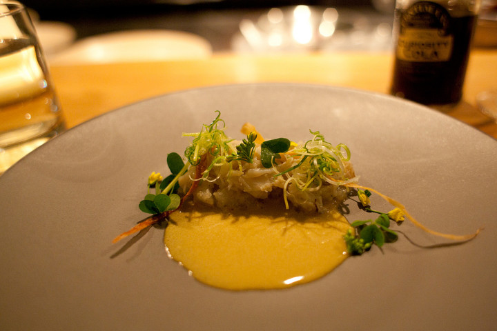 Dungeness crab with roe, kohlrabi, raw green garlic and sorrel at Commis in Oakland. Photo: Emile Raguso