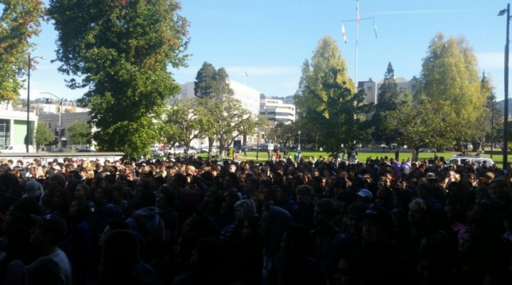 Berkeley High students took their protest rally to outside Old City Hall on Oct. 5, 2015. Photo: Lance Knobel