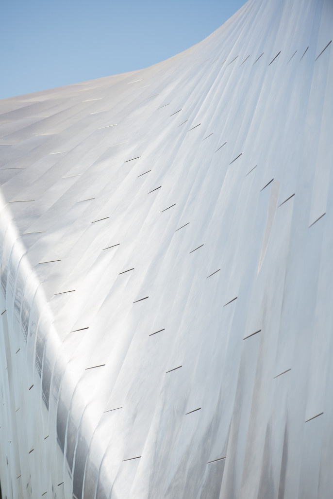Stainless steel roof cladding on the new bampfa photo daniel mcpartlan