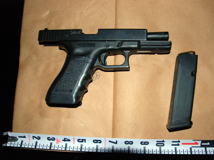 A third handgun confiscated during the video shoot. Photo: BPD