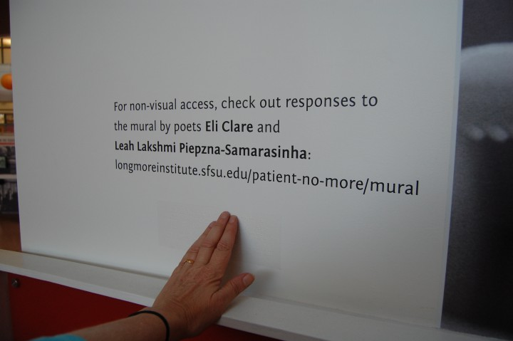 Caption: Transparent Braille text throughout the exhibit is embedded into the design. This detail at the edge of the mural points visitors to the audio and ASL videos of poetic interpretations of the mural by Eli Clare and local poet Leah Lakshmi Piepzna-Samarasinha. Photo credit: Fran Osborne