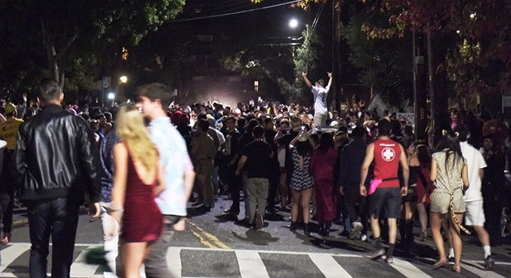 A large crowd of Halloween revelers gathered on Channing Way, near Piedmont Avenue, in Berkeley, late Saturday. Photo: David Yee