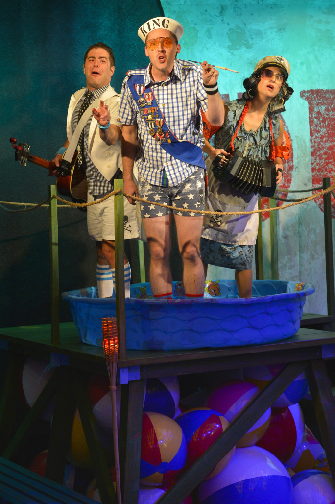 l to r) Zeke Sulkes as Frederick, Shawn Pfaustch as the Pirate King, and Christine Stulik as Ruth in The Hypocrites' Pirates of Penzance at Berkeley Rep. Photo courtesy of kevinberne.com