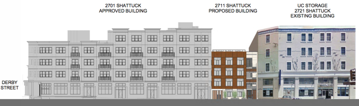 2711 Shattuck between a building approve but unbuilt to the north and the UC Storage building to the south. Image: Lowney Architecture