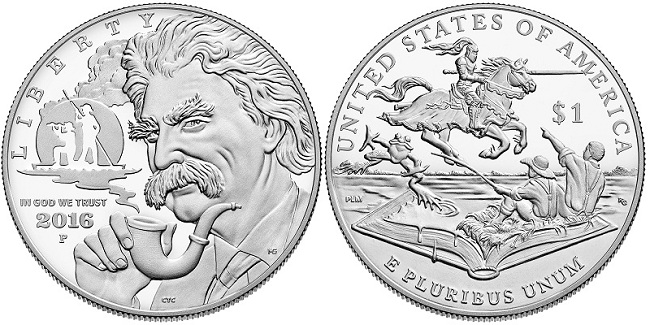 The silver commemorative coin featuring Mark Twain. Photo: U.S. Mint