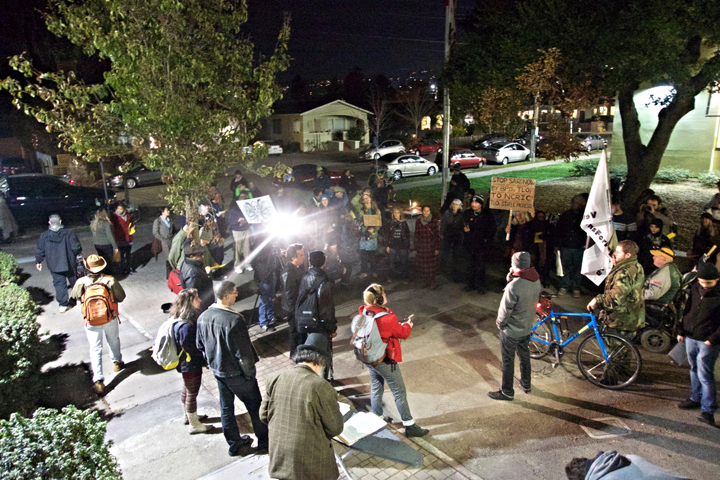 Protesters fighting new ordinances related to street behavior marched to Tuesday night's council meeting and rallied. Photo: Ted Friedman