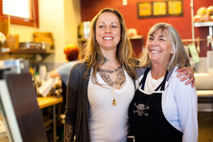 Owner Jena Davidson, with mom Bernice, at The Sacred Wheel Cheese Shop. Photo: Emilie Raguso