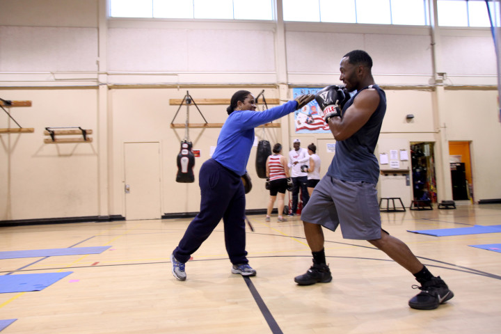 Ginsi Bryant and Albrey Brown work on counter moves. Photo: Kelly Sullivan