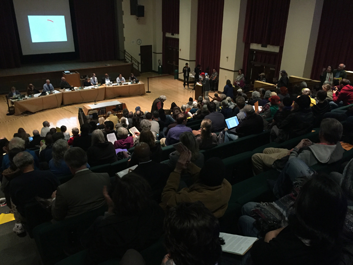 Many community members came out for Tuesday night's council meeting at Longfellow. Photo: Emilie Raguso