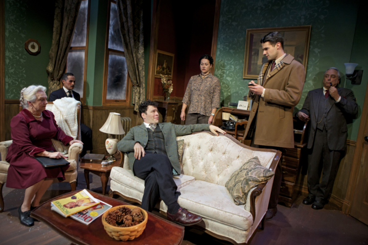 Trish Mulholland as Mrs. Boyle, Alex Rodriguez as Mr. Paravincini, Nick Medina as Christopher Wren, Karen Offereins as Miss Casewell, Adam Magill as Detective Sergeant Trotter, and David Sinaiko as Major Metcalf. Photo: Pak Han