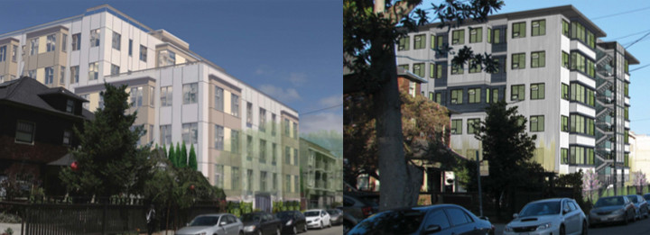 Now and then: At left, the current plan for Regent. At right, the project as initially proposed in 2013. Images: Lowney Architecture