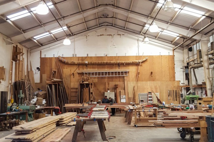 With a Jan. 31 opening date for the new BAMPFA, Paul Discoe and his team put the finishing touches on new furnishings made from salvaged wood. (Photo by Josephine Wu.)