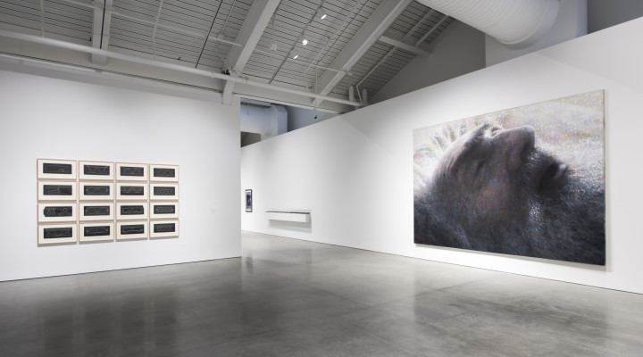 Architecture of Life, on view at the University of California, Berkeley Art Museum and Pacific Film Archive, January 31–May 29, 2016. Installation view of works by Harry Smith (left) and Stephen Kaltenbach (right).Photo: Sibilia Savage.