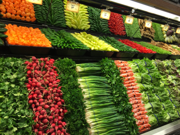 The produce is artfully arranged, but don't look for any smaller local farms. Photo: Alix Wall