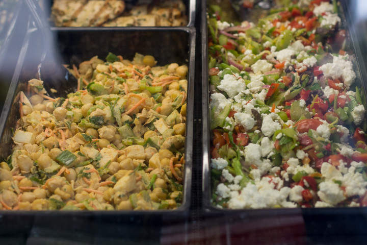 Salads in the deli case at Howden Market. Photo: Benjamin Seto