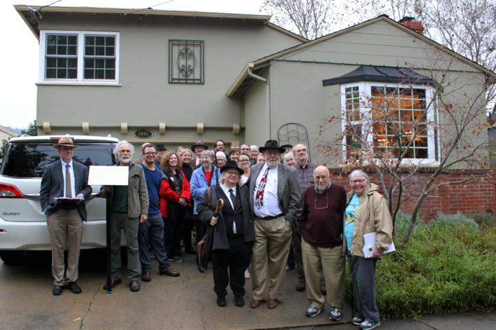 Fans of Anthony Boucher, the mystery writer, gathered outside his home on Dana Street to honor him now that the house has been sold. Photo: Kathleen Costanza