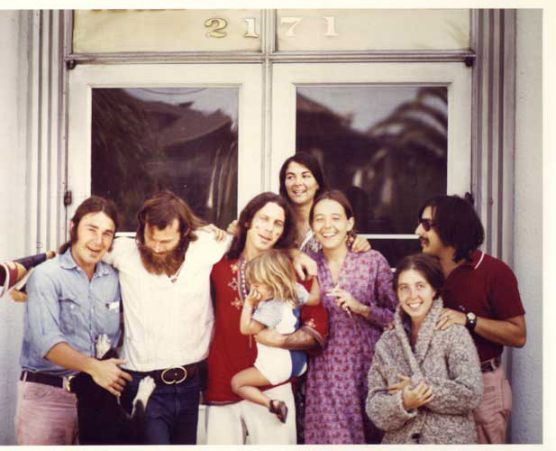 Gordon (left) and Dragon's Eye family after bailing Rossman (center) out of jail after a demonstration in the early 1970s. Photo courtesy Howie Gordon.