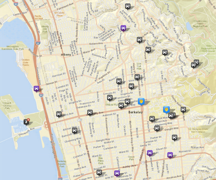 There were 24 thefts or burglaries from vehicles, via CrimeMapping. There were 27 the prior week. There were also five vehicles stolen (in purple). Click the map for a list of incidents.