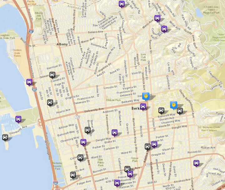 There were 10 thefts or burglaries from vehicles, via CrimeMapping. There were 24 the prior week. There were also 12 vehicles stolen (in purple). Click the map for a list of incidents.