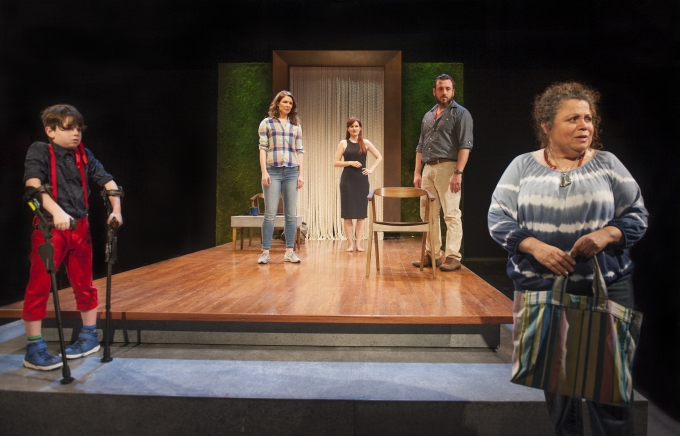 The Rat Wife (r. Wilma Bonet*) stops by to see if Erik (l. Jack Wittmayer) and his family (l-r, Mariah Castle, Marilee Talkington,* Joe Estlack*) need her help in the World Premiere of Little Erik. Photo: David Allen