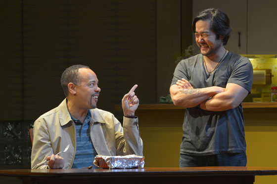 (l to r) Tyrone Mitchell Henderson (Lucien) and Tim Kang (Ray) in Julia Cho's Aubergine at Berkeley Rep. Photo: kevinberne.com