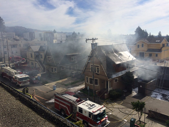 A view from above of the house fire on Haste in Berkeley on Tuesday morning. Photo: Michael Burkhartsmeyer