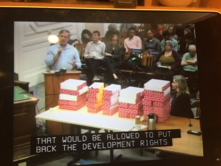 Eric Angstadt and Amy Davidson moved blocks around to explain how density transfer rights might work.