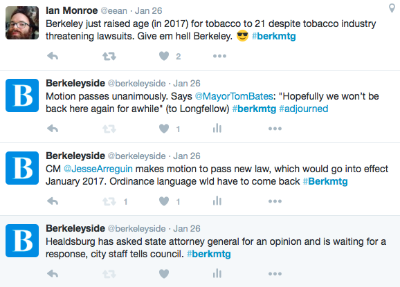 Follow live tweets of the Berkeley Council meeting by clicking the image above. Join in by tagging your tweets #berkmtg.
